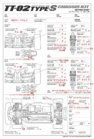 TT-02Type-Sのセッティングシートを公開(NSスピードウェイ専用)